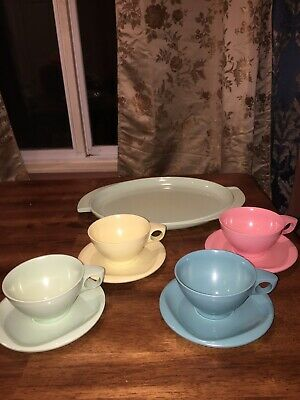 Boonton Ware Melamine Melmac Pink Blue Green Coffee/Tea Cup Saucer Platter EC