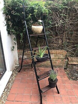 Old Vintage Step Ladder Decorative Upcycled Metal Ladder Wooden Steps