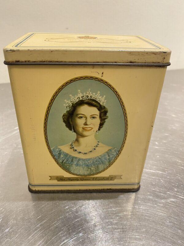 Antique tin box coronation queen elizabeth II