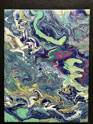 """""""Creation"""" - An Original Abstract Acrylic Fluid/Flow Pour Painting 9 x 12"""