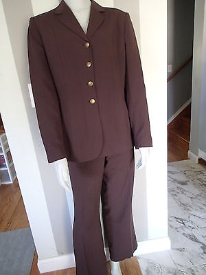 anne klein career BLAZER SZ 12 SUIT Jacket pants brown  t