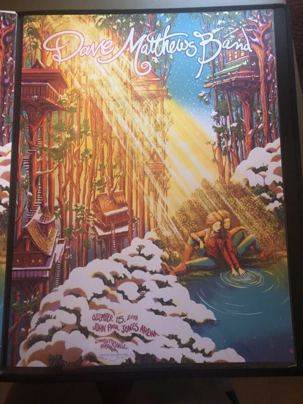 DMB Dave Matthews Print Poster - James Flames Charlottesville N2 12/15/18