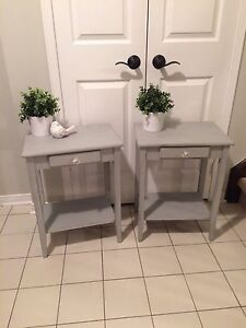 Solid refinished pair of bedside tables