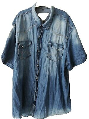 Men's Cotton(Denim Look) Short sleeved Shirt XXXL JACAMO