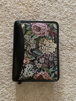 Franklin Covey Planner Zip Binder Organizer Floral Flower Fabric Canvas Leather