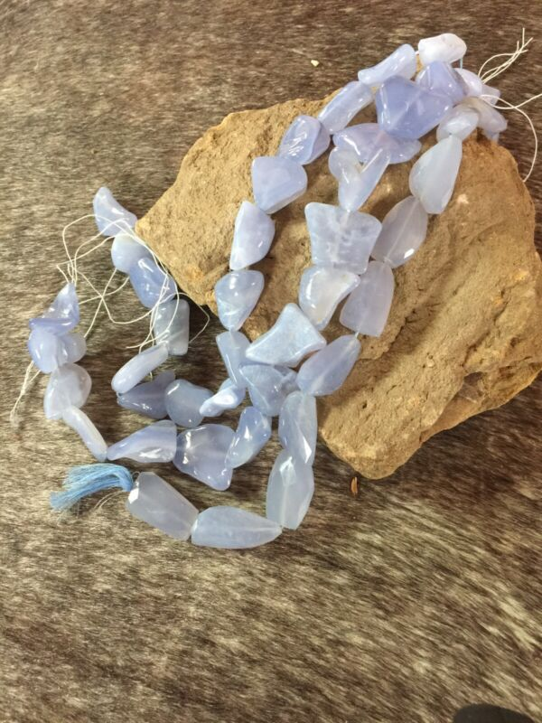 Blue Chalcedony Nuggets - Approx. 22x26mm - 5 Strands