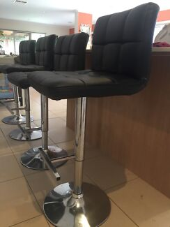 4 Gas Lift Faux Leather Bar Stools