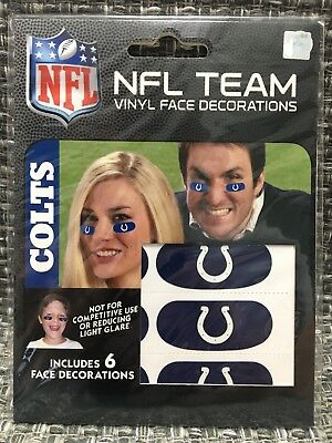 Indianapolis Colts NFL 6 Pack Eye Black Strips Vinyl Face Decorations Stickers
