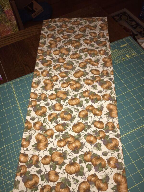 """Custom-made w/ LONGABERGER PUMPKIN PATCH fabric Table RUNNER - 13"""" x 32"""" +/-"""