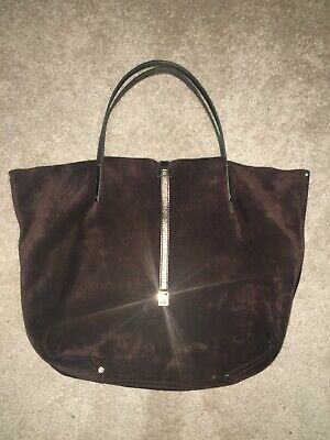 Tiffany & Co Chocolate Brown Suede / Metallic Bronze Leather Reversible Tote
