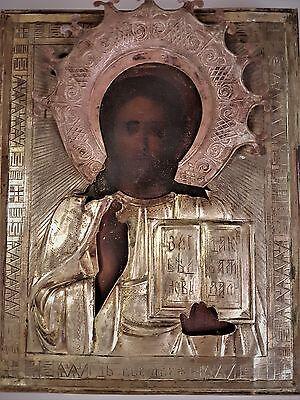 Alte Original handgemalte Ikone Jesus Christus mit Oklat