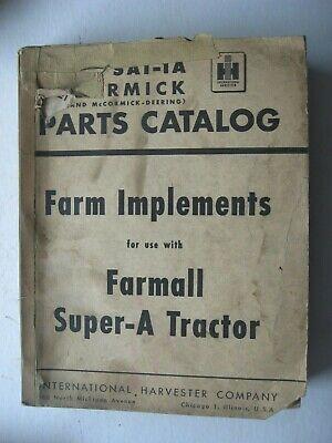 Mccormick Deering Ih Parts Catalog Farm Implements For Farmall Super A Tractor