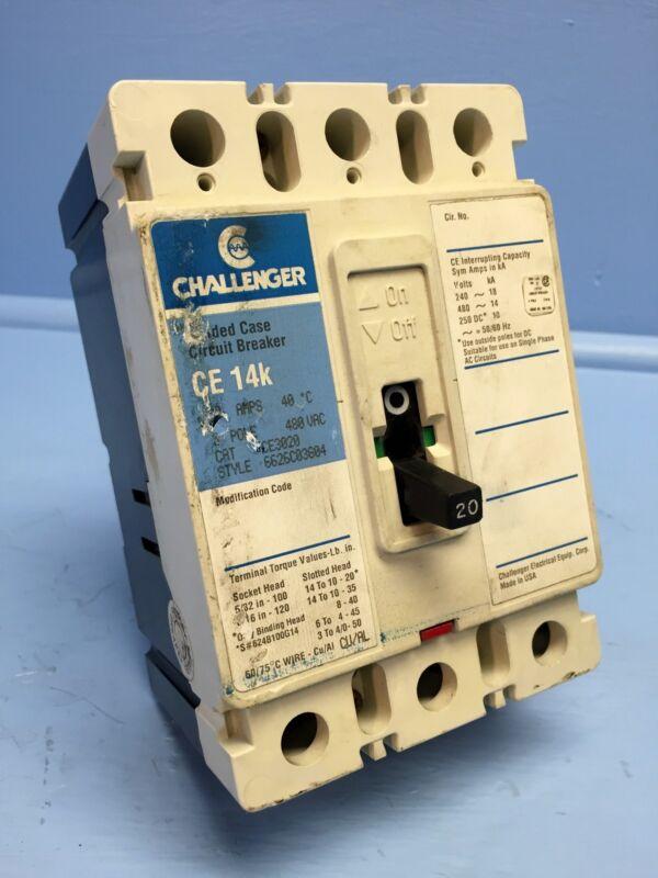 Challenger CE3020 20A Circuit Breaker 480V CE 14k CE3020L Cutler-Hammer 20 Amp