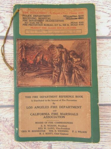 Antique Los Angeles Fire Department Reference Book & Directory From the 1920