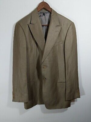 Armani Collezioni Blazer Bamboo Linen peak collar Made in Portugal Mens 42 R