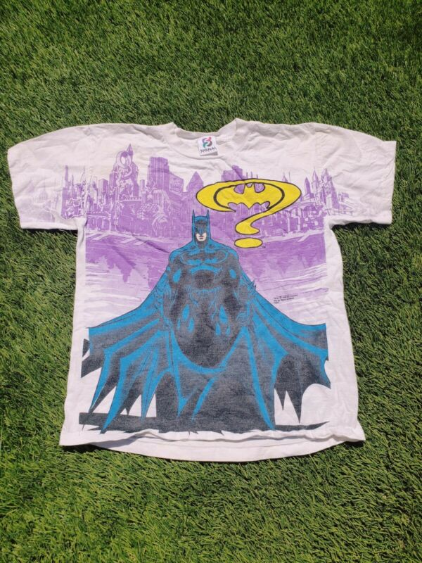 Vintage DC Comics Batman 1995 Kids T- Shirt Single Stitch All Over Print 16/18