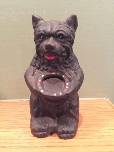 Vintage Cast Iron Metal Black Grizzly Bear Still Coin Bank