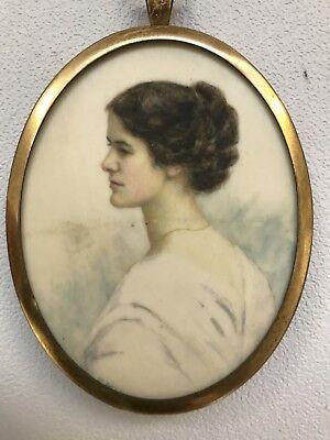 Antique Art Deco portrait miniature painting of a young lady signed E M Vale