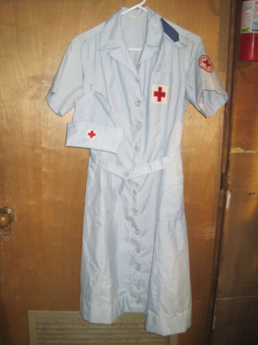 Vintage American Red Cross Nurse Uniform with hat from the 1940s or 1950s