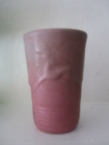 Niloak Pottery Dark Pink Vase With  Green Shading - Flared with Leaping Deer