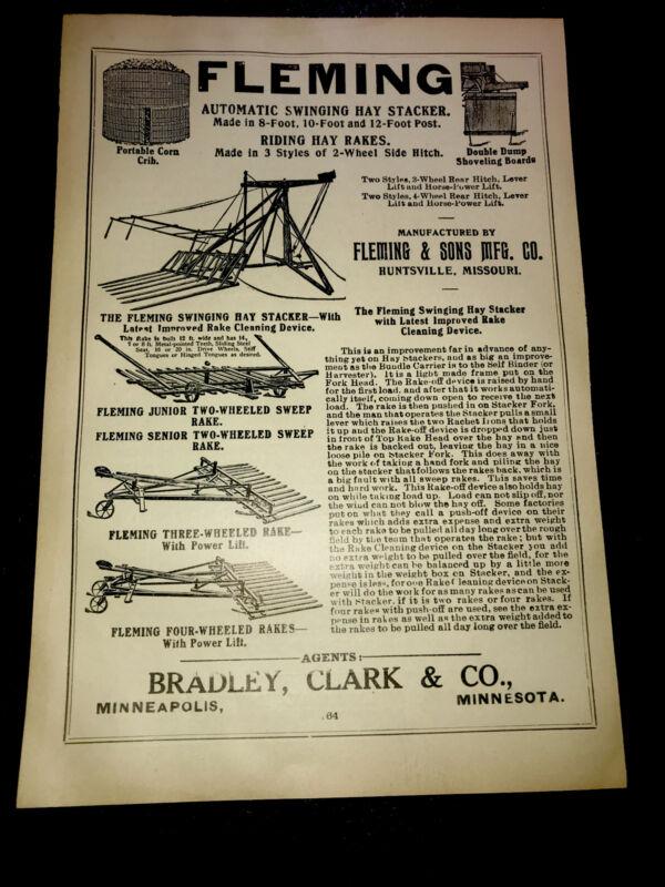 1908 Fleming Hay Stacker Farm Advertising - Huntsville - Missouri & Minneapolis