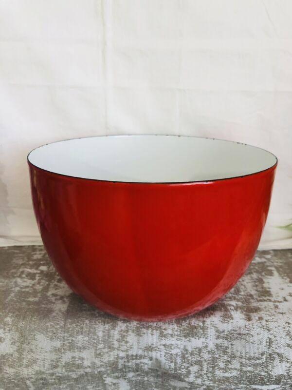"Vintage Kaj Franck Finel Arabia Finland RED Enamel Bowl 5.5 X 8.25"" MCM"