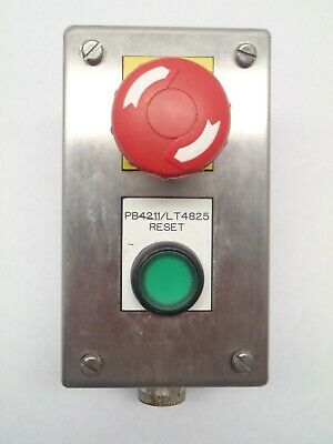 Hoffman E2pbgss Push Button Enclosure W E-stop Green Illuminated Reset Ss