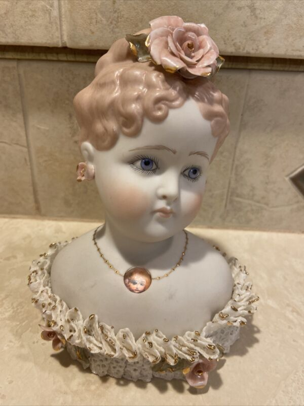 """Dresden Lace Woman Lady Bust porcelain Pinkish 5 1/2"""" Figurine Head Victorian"""