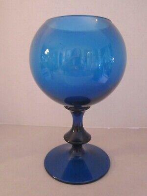 mid century modern round cobalt blue art glass vase. Pedestal elevated 10-1/4