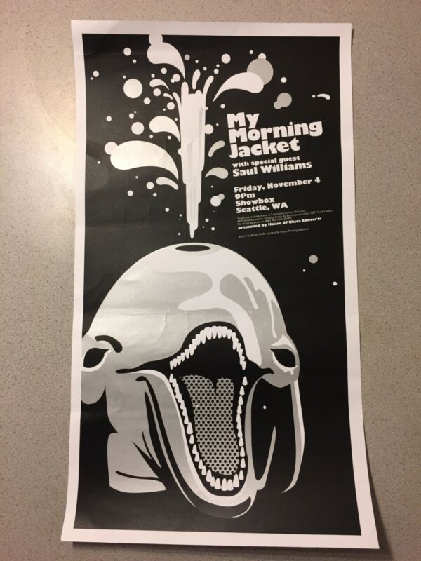 My Morning Jacket Poster Screen print Saul Williams Showbox Seattle WA 25 x 14