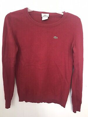 Lacoste 38 Red Cotton Cashmere Long Sleeve Sweater Euc Logo S M