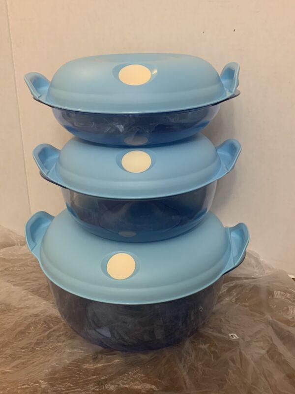 Tupperware Blue Round Heat N Serve Lot 3 1.5L, 0.7L, 3.5L