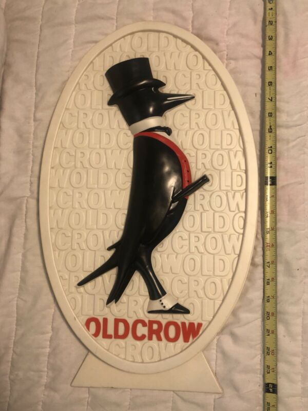 Old Crow Embossed Bourbon Advertising Sign 2-foot Tall.