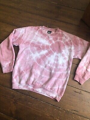 Stars & Stripes Vintage Retro Womens Pink Tie Dye Jumper Sweatshirt Small (6-10)