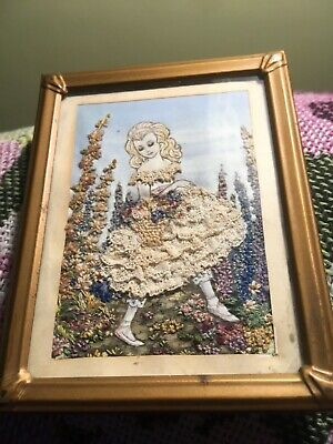 Small vintage embroidery with lace Young girl