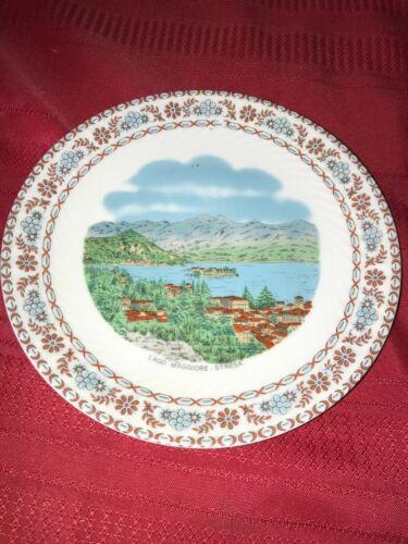 "VTG LAGO MAGGIORE STRESA ITALY 7½"" Porcelain Souvenir Plate Wall Hanger Floral"