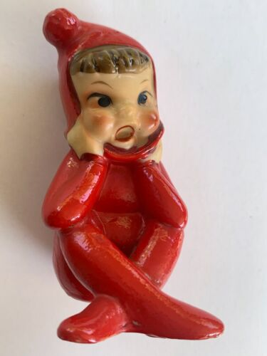 Christmas Pixie Elf Vintage Ceramic Figure Sitting Red Outfit