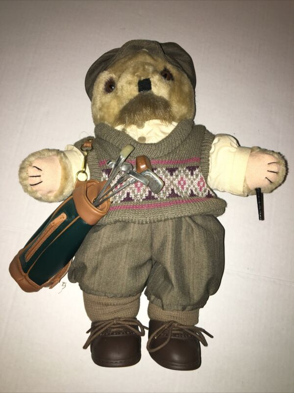 VIntage 1992 THT GOLF BEAR FIGURE ON STAND WITH GOLF CLUBS