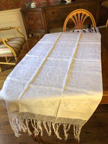 Linen Damask Fringed Antique Towel or Runner