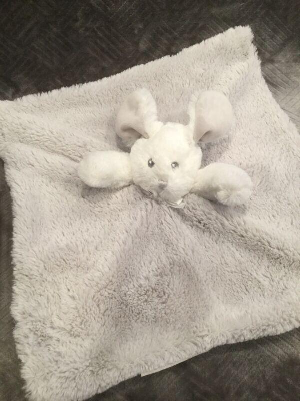 Blankets & Beyond Gray White Plush Bunny Rabbit Security Blanket/Lovey