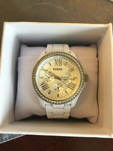 Ladies white Fossil watch for sale