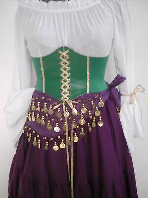 Esmeralda Corset Belt Costume Disney Cosplay Gypsy Halloween Pirate Women Green Esmeralda Kostüm