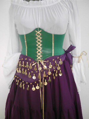 Esmeralda Corset Belt Costume Disney Cosplay Gypsy Halloween Pirate Women Green - Corset Halloween Costume