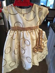 Gold dress size 12 months new with tags and hat