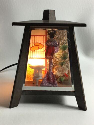 Vintage Geisha Shadow Box Night Light Lamp Japan