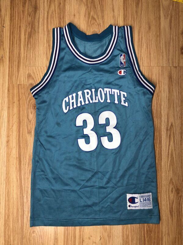 Rare Vintage NBA Champion Charlotte Hornets Jersey Alonzo Mourning Size L 14-16