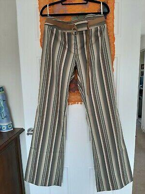 Karen millen trousers size 12 elasticated, flared, stripped,  in Kakhi colours