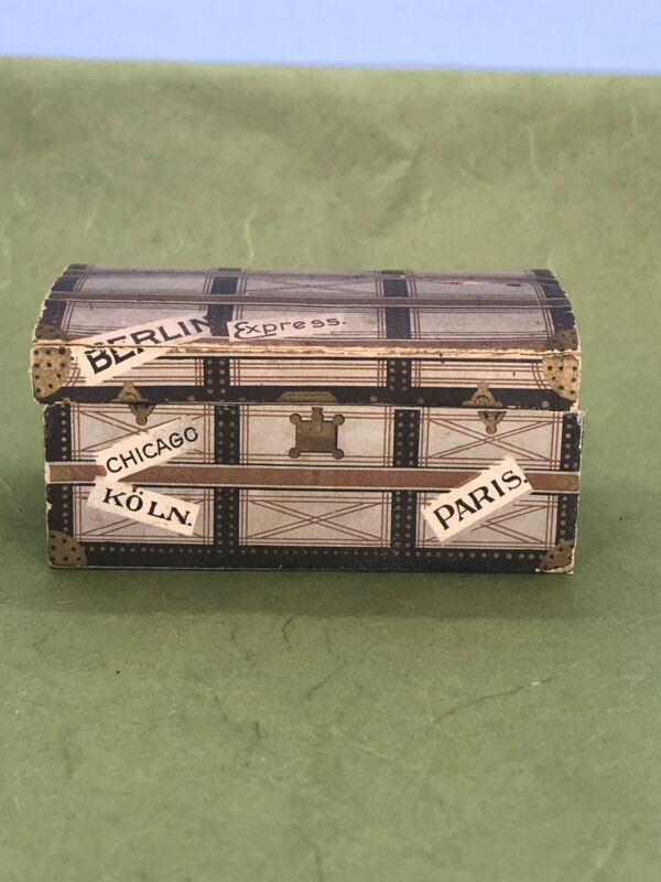 Antique Paper Trunk Christmas Candy Container.
