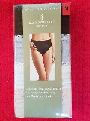 Karen Neuburger Microfiber Women's Underwear Brief with Lace - 4 pack Medium