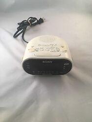 Sony Dream Machine Alarm Clock Dual AM FM Time Works White Radio No. ICF-C318
